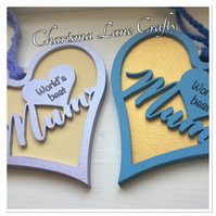 Worlds Best Mum Hanging Heart Plaque