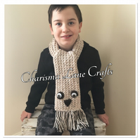 Hand Knitted Ollie The Owl Kids Scarf
