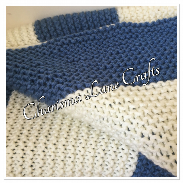Hand Knitted Chunky Blue & Cream Blanket