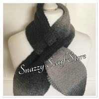 Hand Knitted Grey Cross Over Scarf