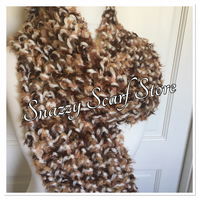 Chunky Cream & Brown Knitted Scarf