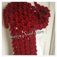 Super Chunky Deep Red Knitted Scarf