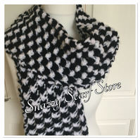 Chunky Black & White Knitted Scarf