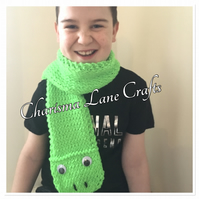 Hand Knitted Freddie The Frog Kids Scarf