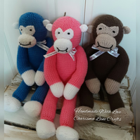 Hand Knitted Cuddly Manny The Monkey