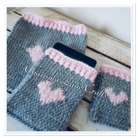 Hand Knitted Grey Heart Tablet Cover