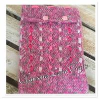 Hand Knitted Pink Ribbon & Roses Tablet Cover