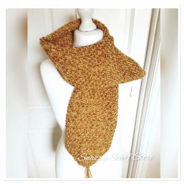 Yellow & Mustard Tassels Hand Knitted Scarf