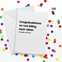 Killing Each Other Funny Anniversary Card