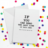 Eye Test Funny Birthday Card