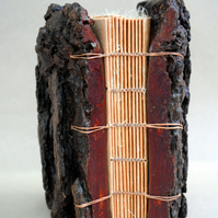 Tree Bark Book I. Handbound made from Monterey Pine Bark covers and lokta paper.