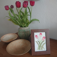 Handpainted watercolour painting of tulips