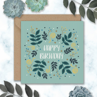 Leaves and Swirls Birthday Card