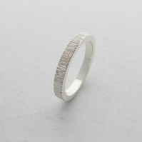 Textured Silver Ripple Ring