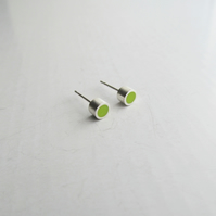 Tiny Silver and Resin Studs in Vivid Green