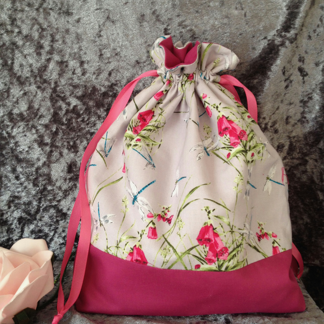 Foxgloves and Dragonflies Pouch Bag