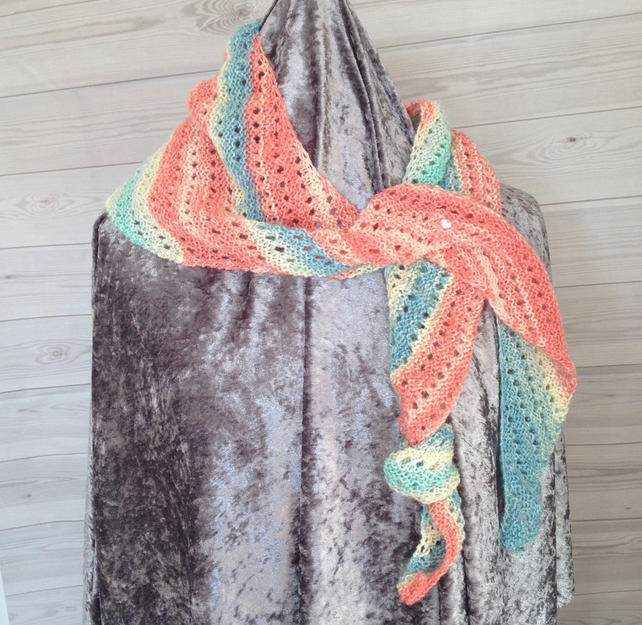 Multicoloured hand knit asymmetrical scarf (Ossie)