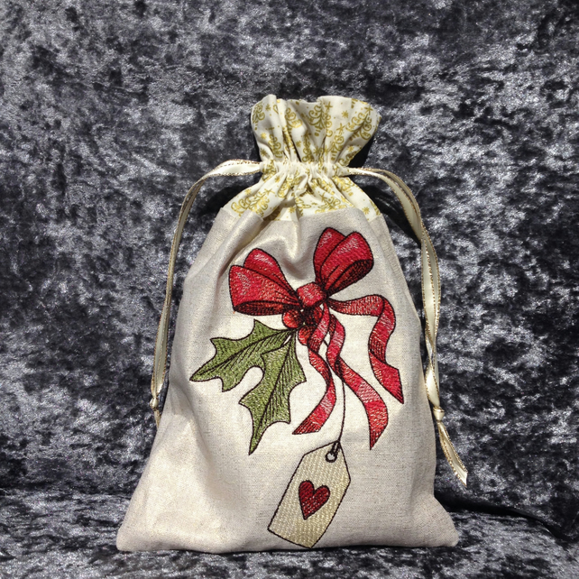 Holly and Tag Christmas Gift Bag