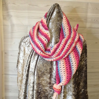 Multicoloured hand knit asymmetrical scarf (Splash)