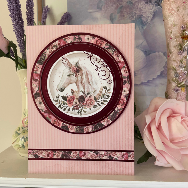 Unicorn and Roses Greeting Card