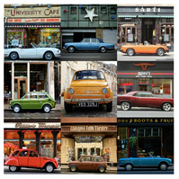 'Classic Cars around Glasgow' Signed square Mounted Print 30 x 30cm FREE DEL