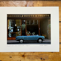 Peugeot 304, Glasgow Signed Mounted Print FREE DELIVERY