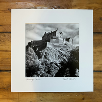 'Edinburgh Castle' signed square mounted print 30 x 30cm FREE DELIVERY