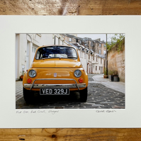 Classic Fiat 500, Glasgow Signed Mounted Print FREE DELIVERY
