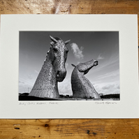 Andy Scott's Kelpies Signed Mounted Print FREE DELIVERY