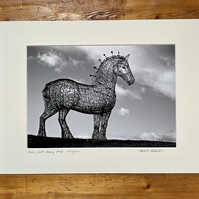 Andy Scott's Heavy Horse, Glasgow Signed Mounted Print FREE DELIVERY