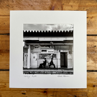 'Waiting, Kyoto'  Signed square Mounted Print 30 x 30cm