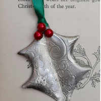 Pewter Holly Christmas Decoration