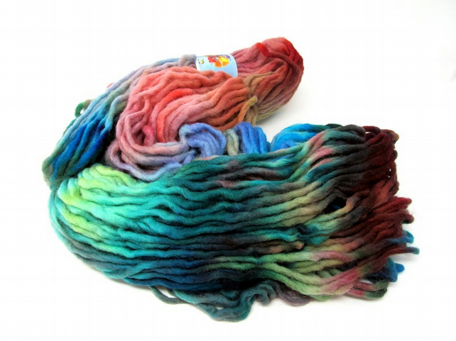 Hand Dyed Pencil Roving Cheviot Wool Giant Yarn Knitting 200g PR21