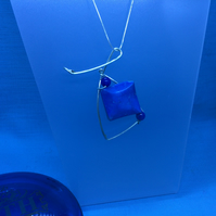Cushion Shaped Square Aqua Dyed Pendant on Silver Snake Chain