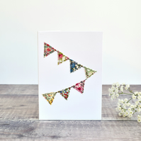 Sewn fabric bunting card, embroidered bunting, celebration card, stitched card