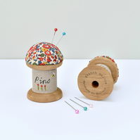 Embroidered pincushion, cotton reel pin cushion, pin holder, gift for sewer