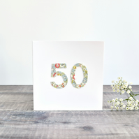 50th Birthday card, age 50 card, card for 50 year old, 50th Anniversary card