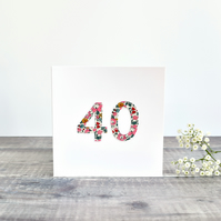 40th Birthday card, age 40 card, card for 40 year old, 40th Anniversary card