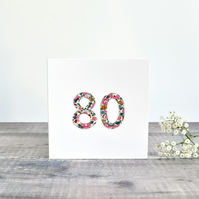 80th Birthday card, age 80 card, card for 80 year old, eighty card