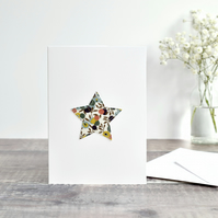 Liberty fabric star card, sewn star card, Christmas star card, Christmas card