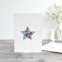 Sewn fabric star card, Liberty fabric star card, embroidered star Christmas card