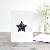 Embroidered star card, Liberty fabric star card, stitched star Christmas card