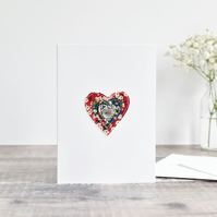 Handmade valentines card, love heart wedding anniversary card, sewn heart card
