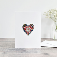 Sewn heart card, love heart valentines card, handmade wedding anniversary card