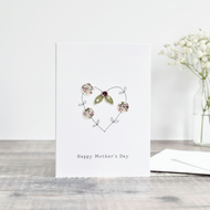 Handmade Mother's Day card, sewn Mothers day card, embroidered card for mum