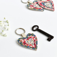 Heart keyring, heart keychain, embroidered heart key ring, house warming gift