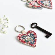 Fabric heart key ring, sewn heart keyring, heart keychain, Valentines gift
