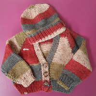 Hand Knitted Baby Cardigan and Hat for Newborn