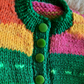 Newborn Hand-knitted Dark green and Jewel colours cardigan