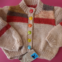 Hand knitted Autumn stripes Baby Set